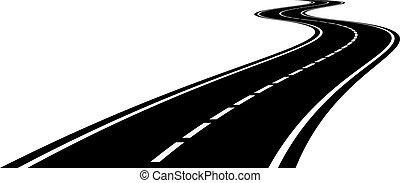 perspectiva, de, estrada curvada