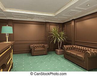perspectiva, de, recepción, vestíbulo, con, cómodo, asientos