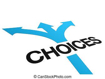 perspectiva, escolhas, sinal
