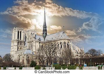 perspectiva general, de, catedral dama notre, de, el, banco,...