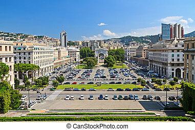 perspectiva general, -, della, vittoria, genova, plaza