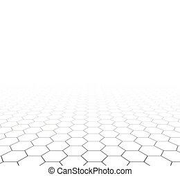 perspectiva, grade, hexagonal, surface.