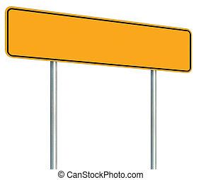 perspectiva, grande, señal, poste indicador, marco, signage, signboard, aislado, amarillo, espacio, poste, advertencia, negro, camino, zona lateral de camino, tráfico, poste, copia, vacío, blanco