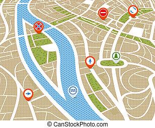 perspectiva, plano de fondo, de, resumen, mapa ciudad, con, símbolos
