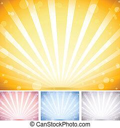 perspectiva, rayado, fondo., conjunto, de, 4, colores