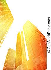 perspectiva, vista, de, edificios, en la ciudad