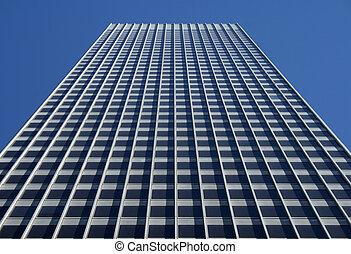 perspectiva, vista, de, el, gris, edificio de oficinas