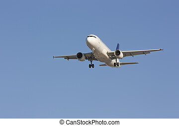 perspectiva, vista, de, jato, airliner, vôo