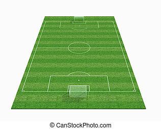 perspectiva, vista, de, un, vacío, campo del fútbol, -3d,...