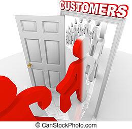 perspectivas, -, clientes, ventas, puerta, convertir