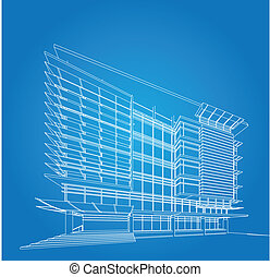 3D render of building wireframe - Perspective 3D render of ...