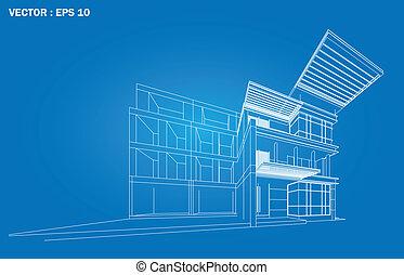 3D render of building wireframe