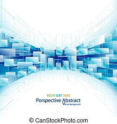 Abstract blue perspective structure background.