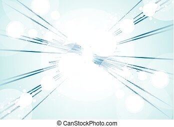 Perspective Abstract bright blue lights and lines background with sparkle and flare. Vector