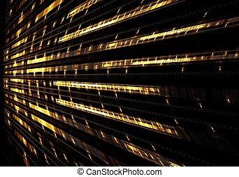 perspective, art, résumé, numérique, fractal, bleu
