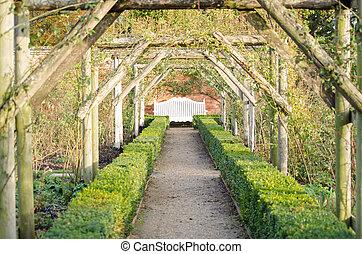 perspective, banc jardin