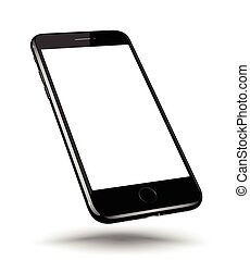 Perspective black smartphone realistic mock-up . Vector...