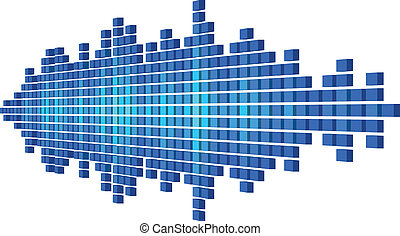 Perspective blue sound waveform made of cubes