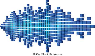 Perspective blue sound waveform made of cubes
