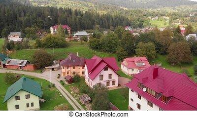 perspective., carpathian, moderne, ukraine, montagnes, aérien, houses.