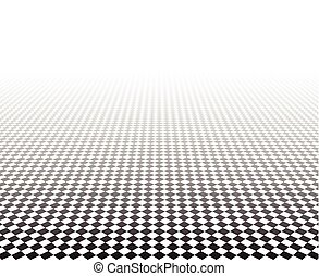 Perspective checkered surface. - Perspective black and white...