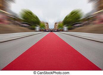 perspective., classique, moquette rouge