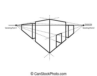 perspective drawing isolated on white background vector...