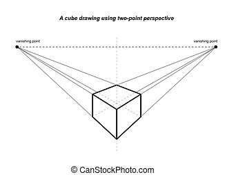 perspective drawings isolated on white background vector...