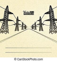 perspective., elektryczny, pylony