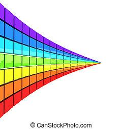 perspective, fait, spectre, coloré, cubes