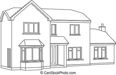 A 3d Two point perspective Line Drawing of a two storey detached house