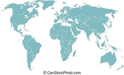 perspective., landkarte, vektor, abbildung, welt
