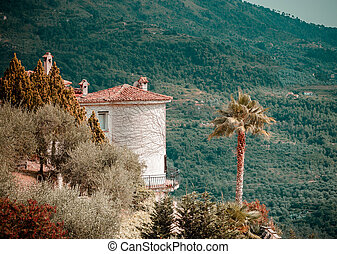 Perspective landscape view in high italien mountains