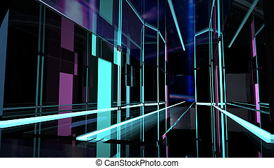 Perspective neon styled black room.