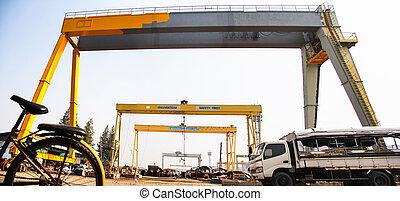 perspective of big cranes