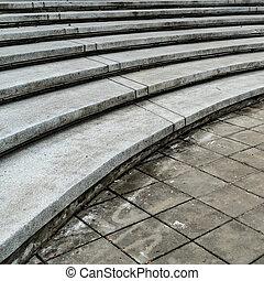 Curve concrete staircase