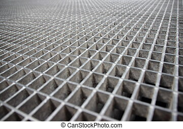 Perspective of Grey Galvanized Steel Grate Grid -...