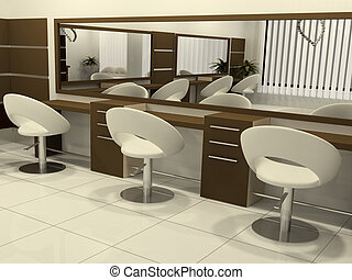 Perspective of Interior Hair Salon
