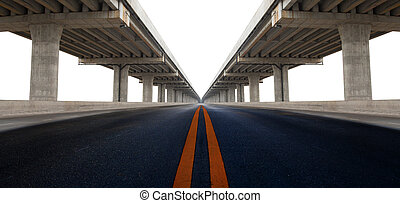 perspective on bridge ram construction and asphalt raod isolated white background use for infra structure and civil development background