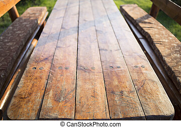 Perspective on the base of table wooden boards.