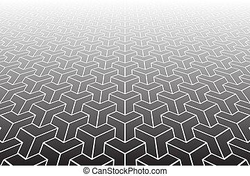 perspective., pattern., abstract, verminderen, geometrisch