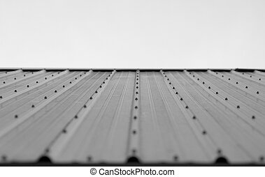 perspective photo of a tin roof.