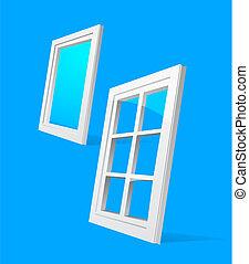 perspective plastic window illustration on blue background