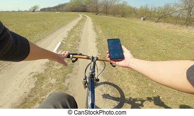 perspective, première personne, bike., vue, vitesse, pov., ...