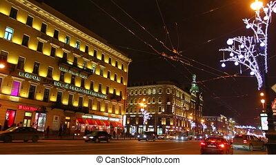 perspective, rue. pétersbourg, nuit, nevsky, noël