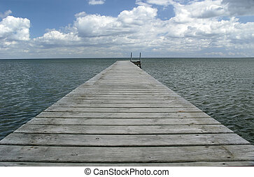 landing stage - Perspective shot of landing stage at the sea...