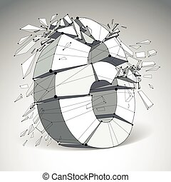 Perspective technology demolished number 6 with black lines and dots connected, polygonal wireframe font. Explosion effect, abstract faceted element cracked into multiple fragments.