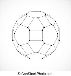Perspective technology shape with black lines and dots connected, polygonal wireframe object. Abstract monochrome faceted element for use as design structure on communication technology theme