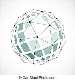 Perspective technology shape with black lines and dots connected, polygonal wireframe object.