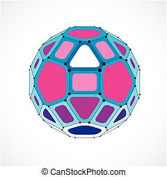 Perspective technology shape with black lines and dots connected, polygonal wireframe object. Abstract purple faceted element for use as design structure on communication technology theme